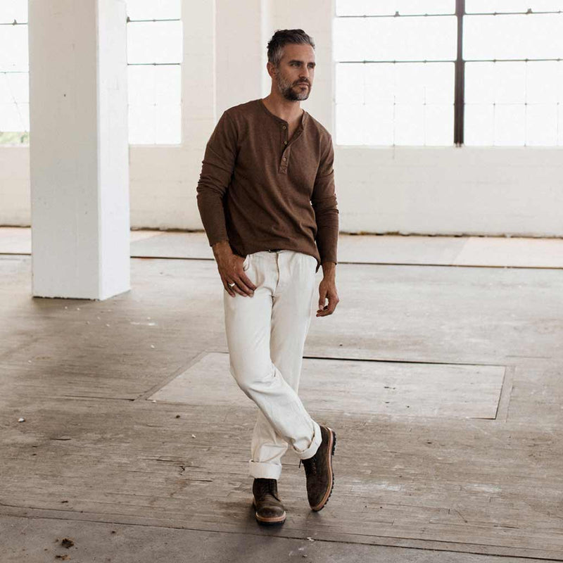 The Heavy Bag Henley in Fatigue Brown - The Revive Club