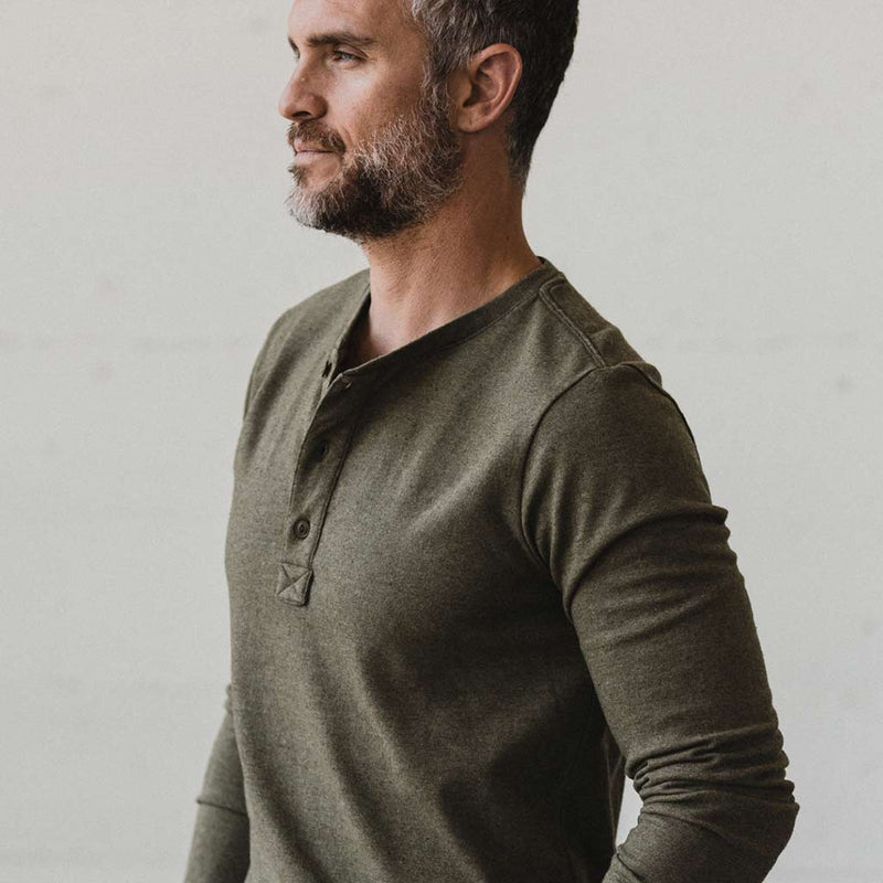 The Heavy Bag Henley in Fatigue Green - The Revive Club