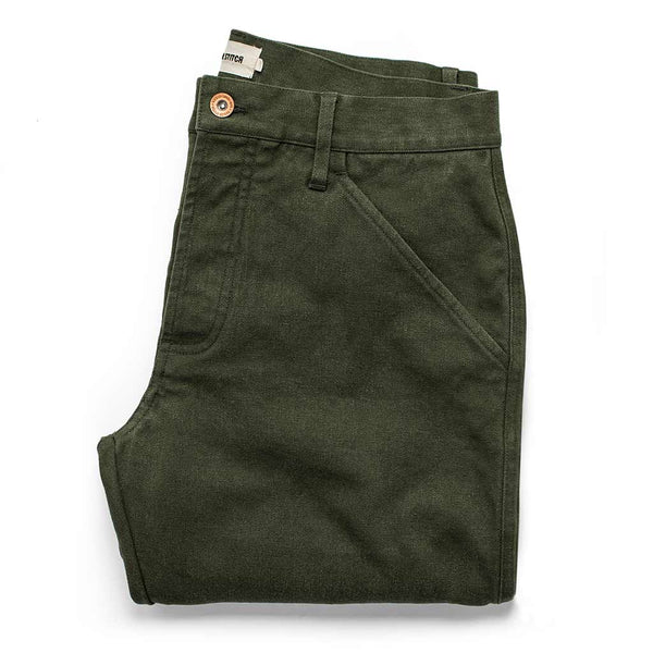 The Camp Pant in Dark Olive Tuff Duck - The Revive Club