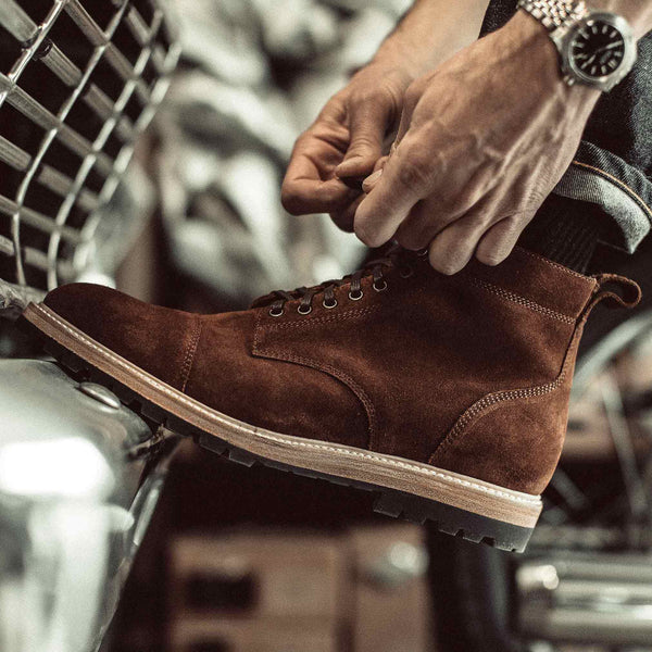 The Moto Boot in Weatherproof Snuff Suede