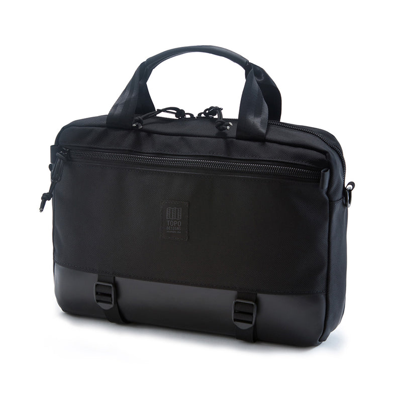 Commuter Briefcase - Ballistic Black & Leather - The Revive Club