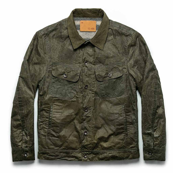 Lined Long Haul Jacket in Olive Waxed Canvas - The Revive Club
