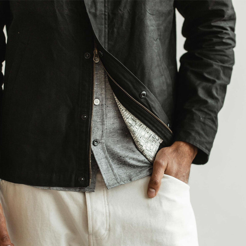 The Bomber Jacket in Black Dry Wax