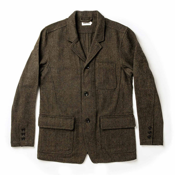 Coming Soon - The Gibson Jacket in Olive Herringbone Wool