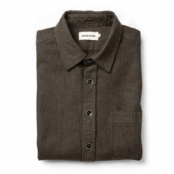 The Mechanic Shirt in Dark Olive Herringbone