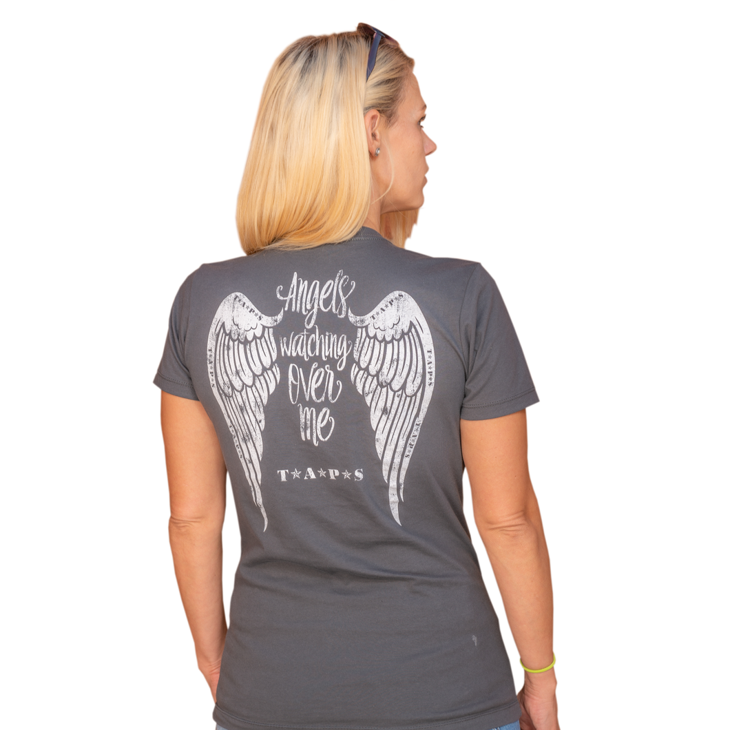 Angels Watching Over Me Charcoal Grey V-Neck Tee