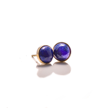 Load image into Gallery viewer, Lapis with Silver Bezel Earrings
