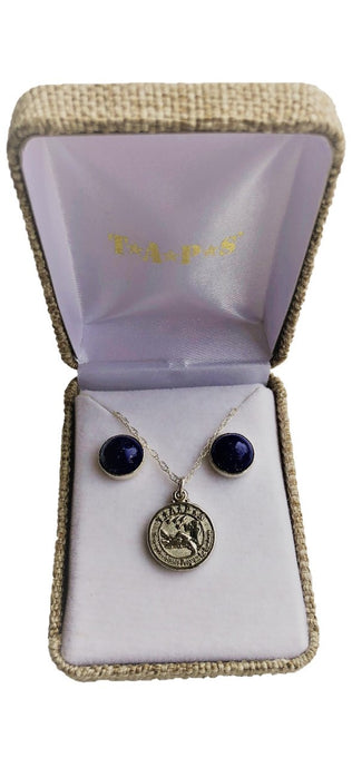 Silver TAPS Charm Necklace and Lapis with Silver Bezel Earrings Set