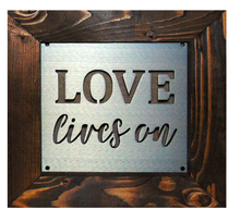 "Load image into Gallery viewer, Metal ""Love Lives On"" Wall Art"