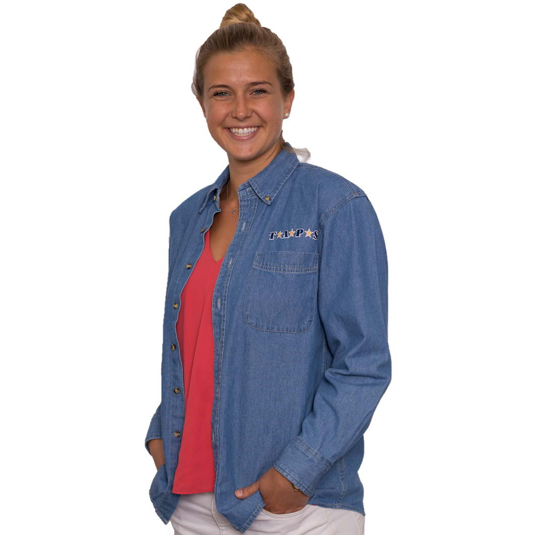 Denim Shirt with Embroidered Logo