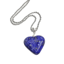 Load image into Gallery viewer, Lapis Heart Necklace and Round Post Earrings Set