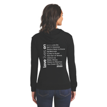 Load image into Gallery viewer, LOVE LIVES ON Women's Fitted Jersey Full-Zip Hoodie