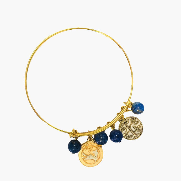Lapis Gold Bangle Bracelet with Charms
