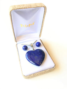 Lapis Heart Necklace and Round Post Earrings Set
