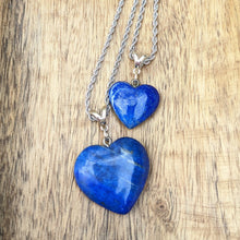 Load image into Gallery viewer, Mother Daughter Lapis Heart Necklace Set