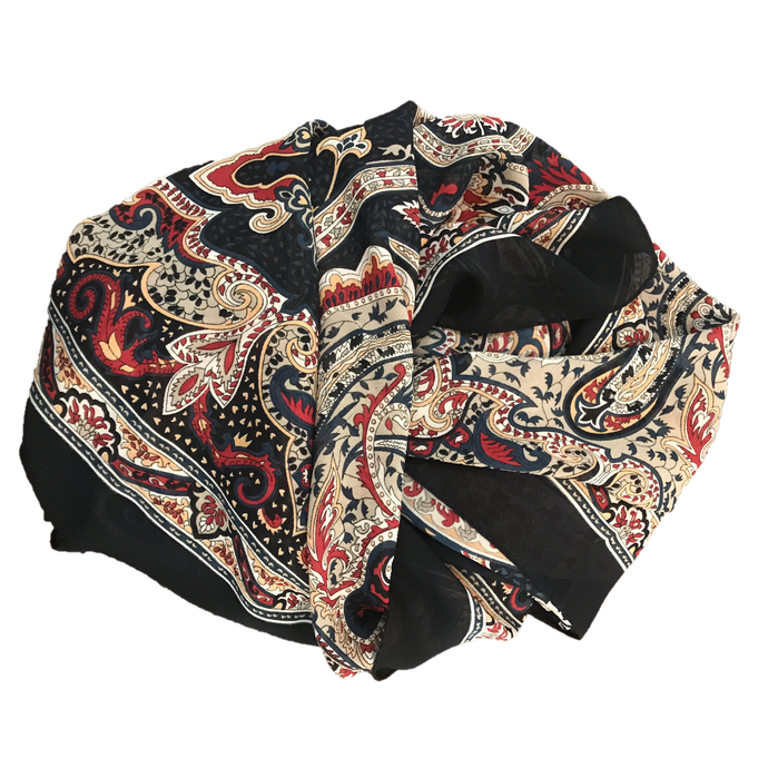 Square Scarf with Paisley Pattern
