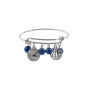 Lapis Silver Bangle Bracelet with Charms