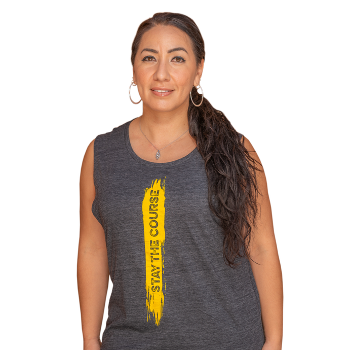 Women's Stay the Course Tank Top Grey/Yellow