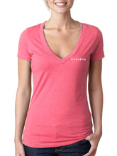 Load image into Gallery viewer, Pink Angels Watching V-Neck Tee with Glitter Ink