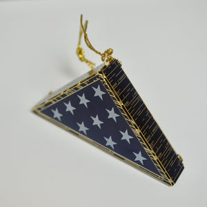 Folded Flag Ornament 24k Gold