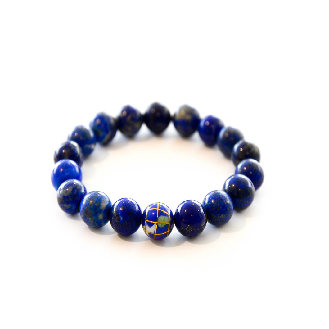 Lapis Golden Globe Stretch Bracelet
