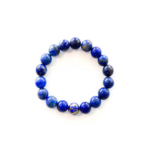 Load image into Gallery viewer, Lapis Golden Globe Stretch Bracelet
