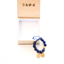 Load image into Gallery viewer, Lapis Bracelet with 20k Gold Charm