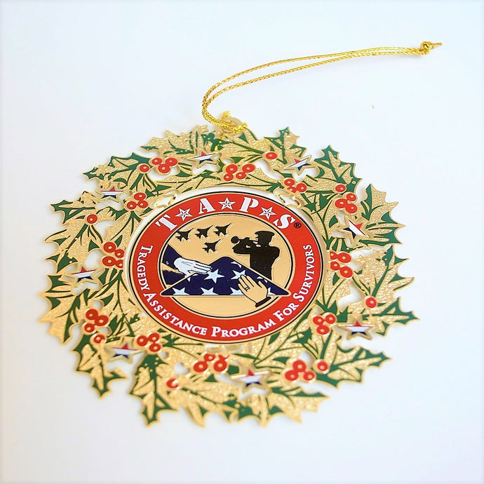 Wreath Ornament 24k Gold TAPS Logo