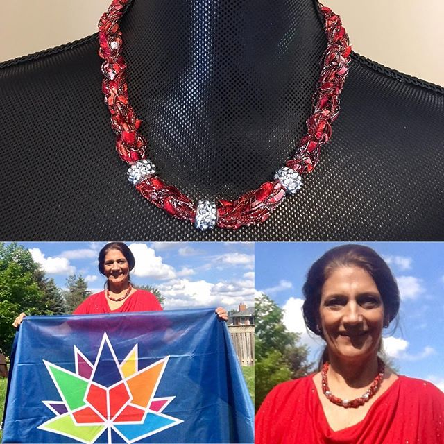 Canada Day Adorned Necklace