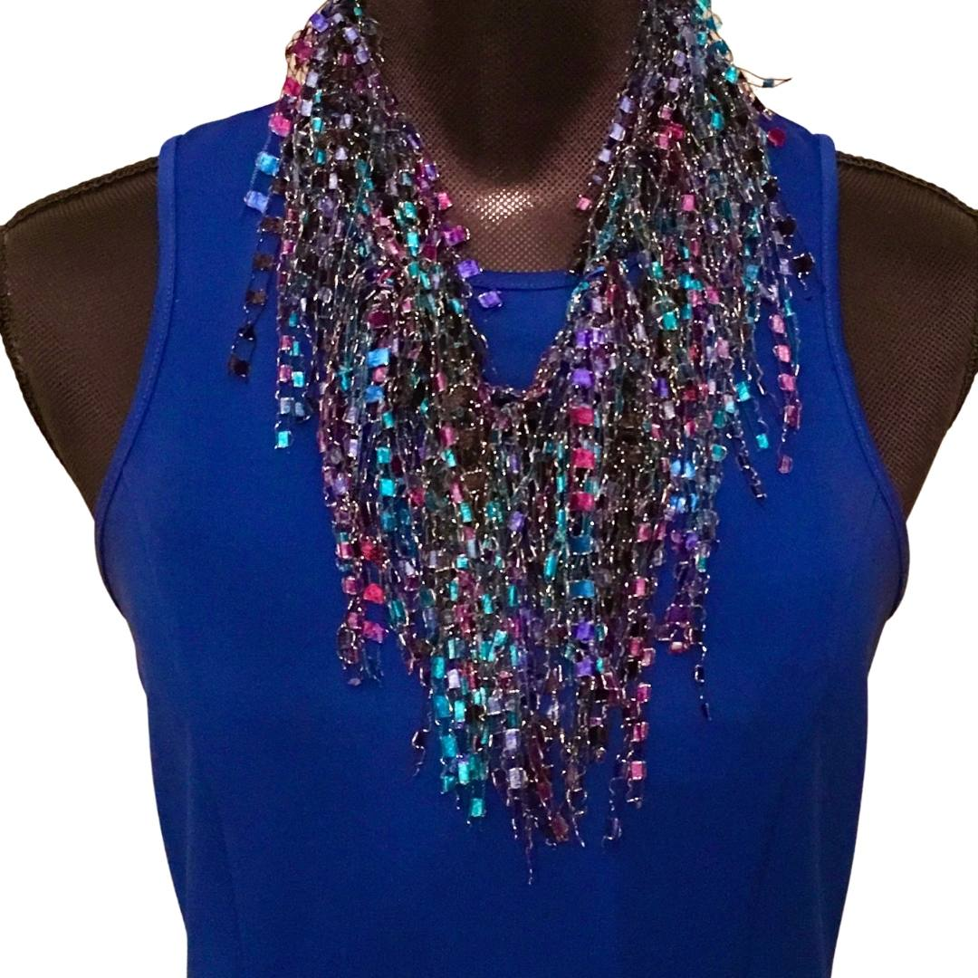 Turquoise Purple Black Scarf Necklace
