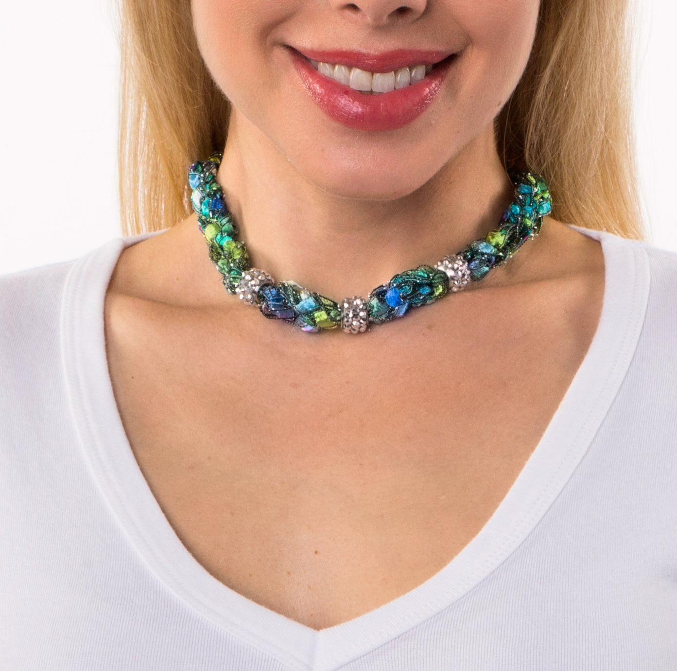 Statement necklace blue green choker