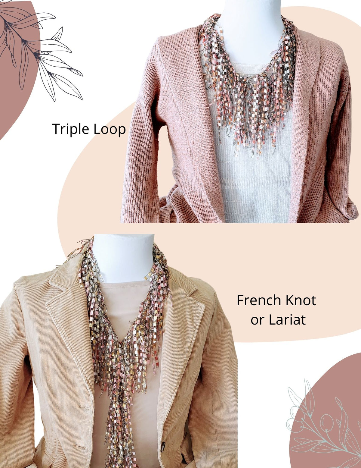 Rose Tan Scarf Statement Necklace