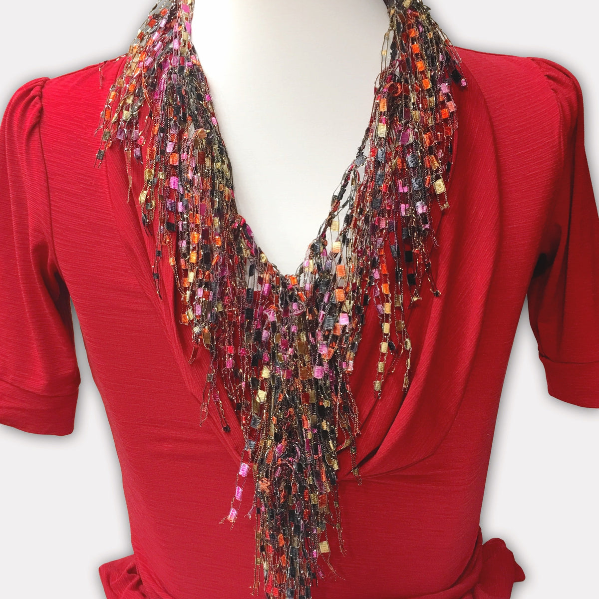 Bohemian Red Scarf Necklace (Saffron Red Beige)
