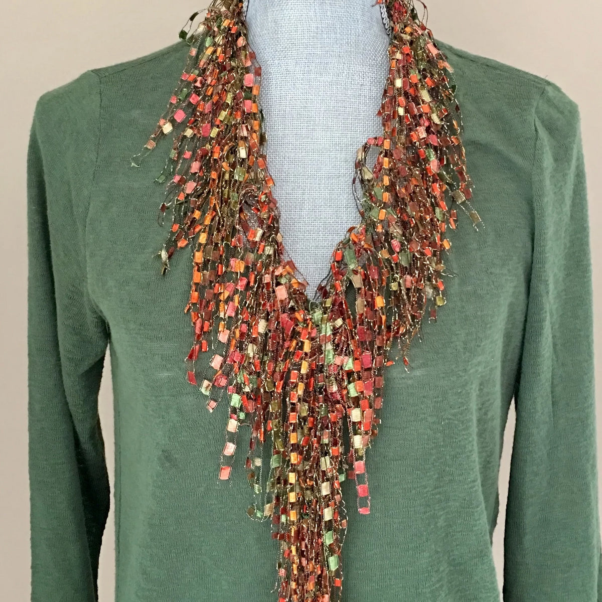 Orange and Green Infinity Scarf Necklace - Coral Jade GemLace Scarf