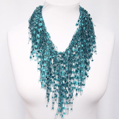 Teal Scarf - Turquoise Scarf Necklace - Turquoise GemLace by Scarf Lady
