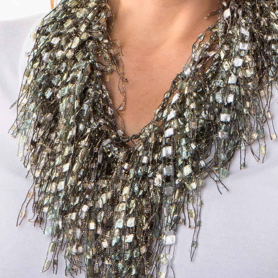 Neutral Beaded Necklace Scarf - Pearl GemLace Scarf