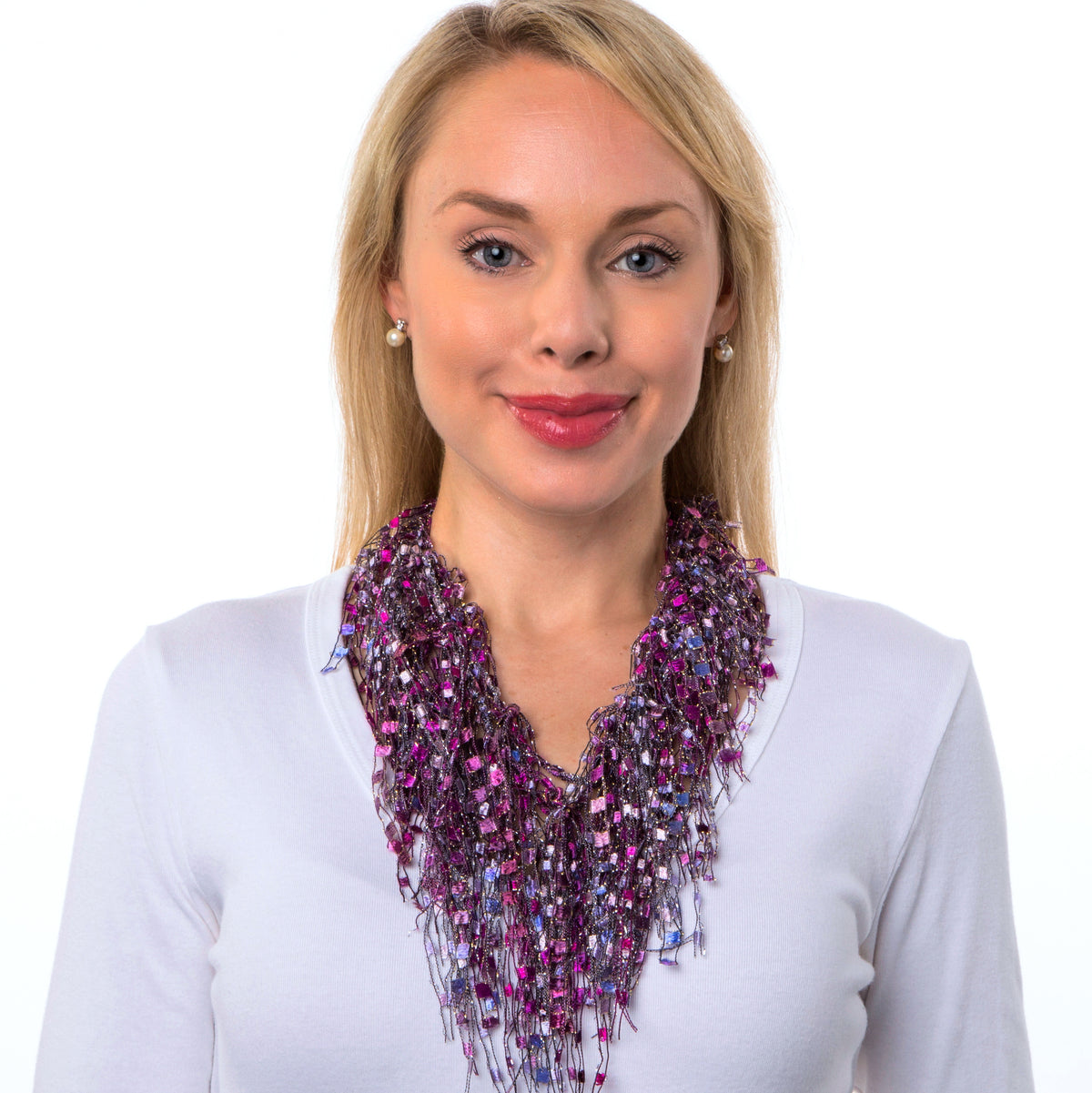Hot Pink Fuchsia Infinity Scarf - Pink Ruby GemLace Scarf
