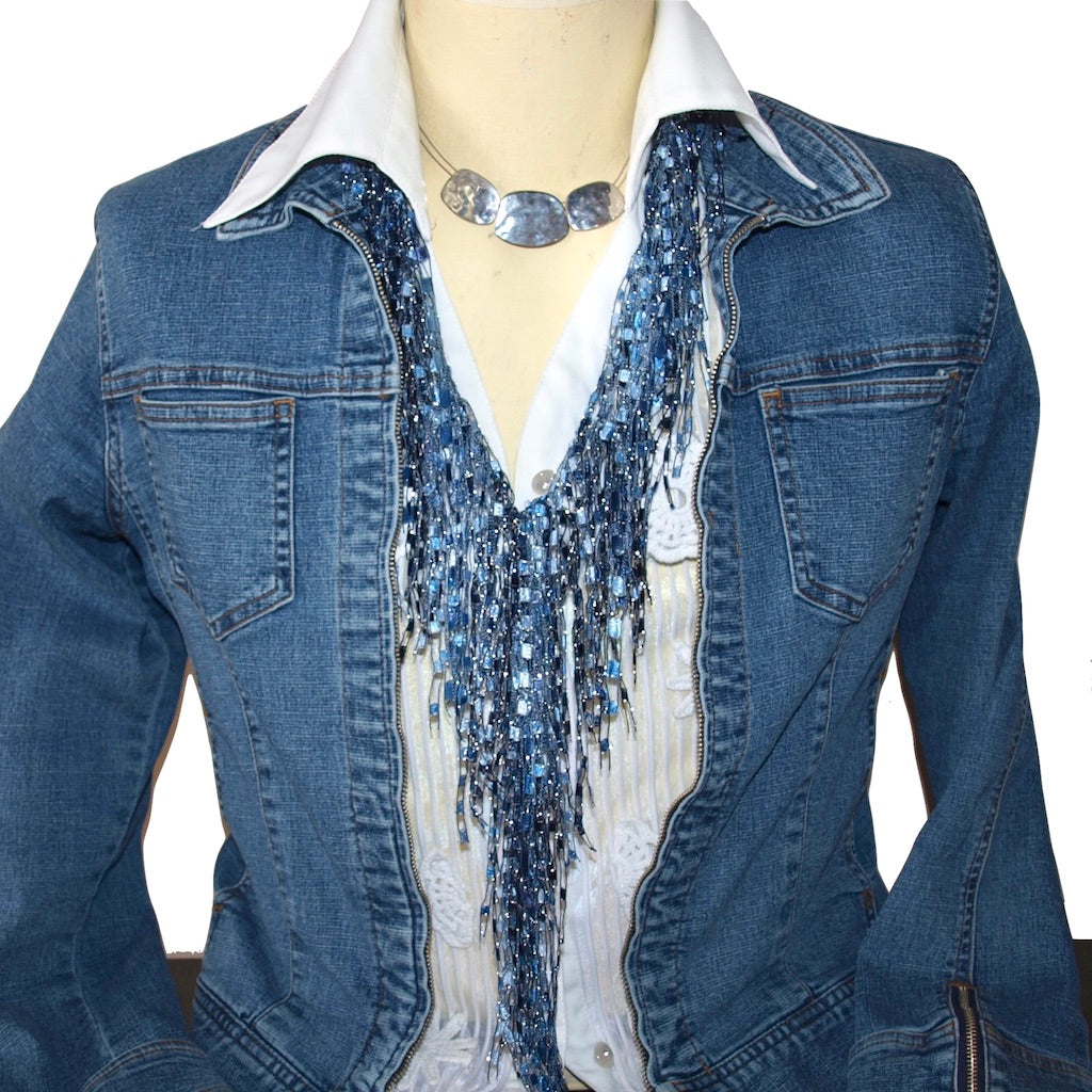 Denim Necklace Scarf with jean jacket on mannequin