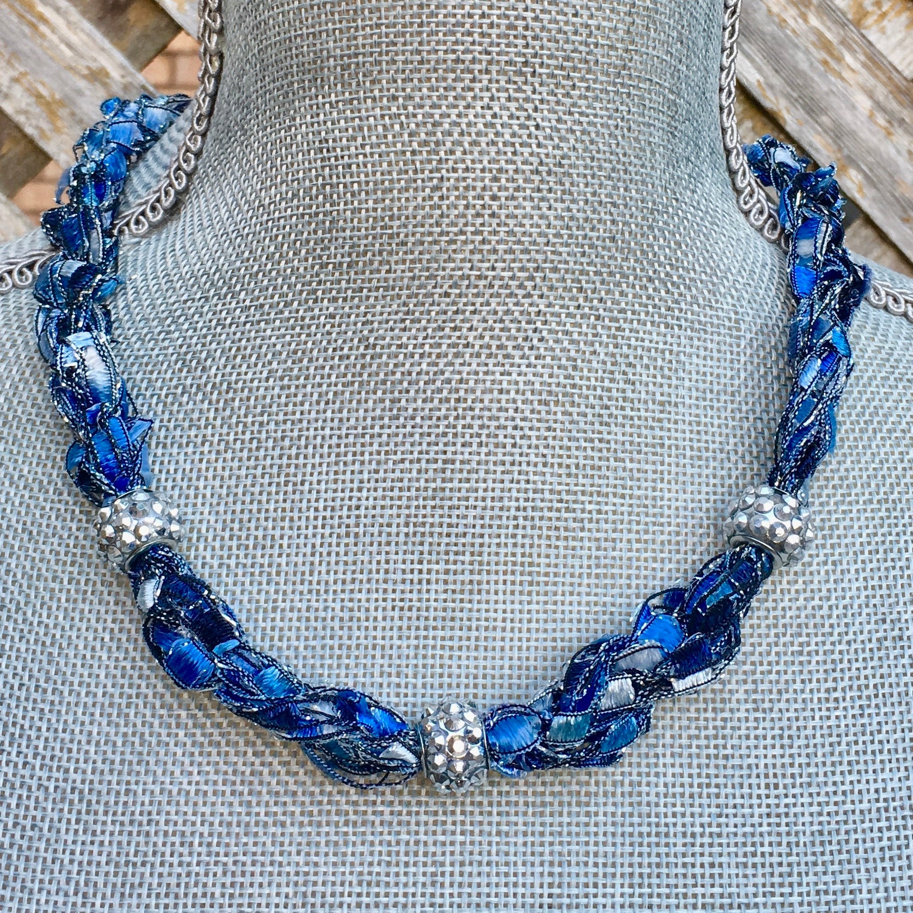Denim Blue Statement Necklace