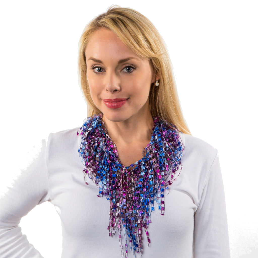 Pink Blue Statement Necklace Scarf - Pink Sky GemLace