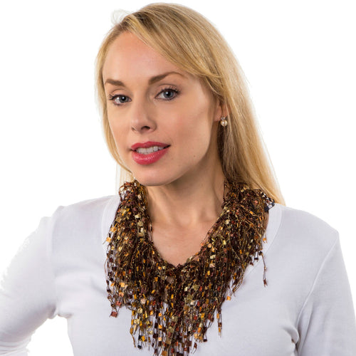 Lightweight Infinity Scarf Necklace - Tiger's Eye GemLace Scarf