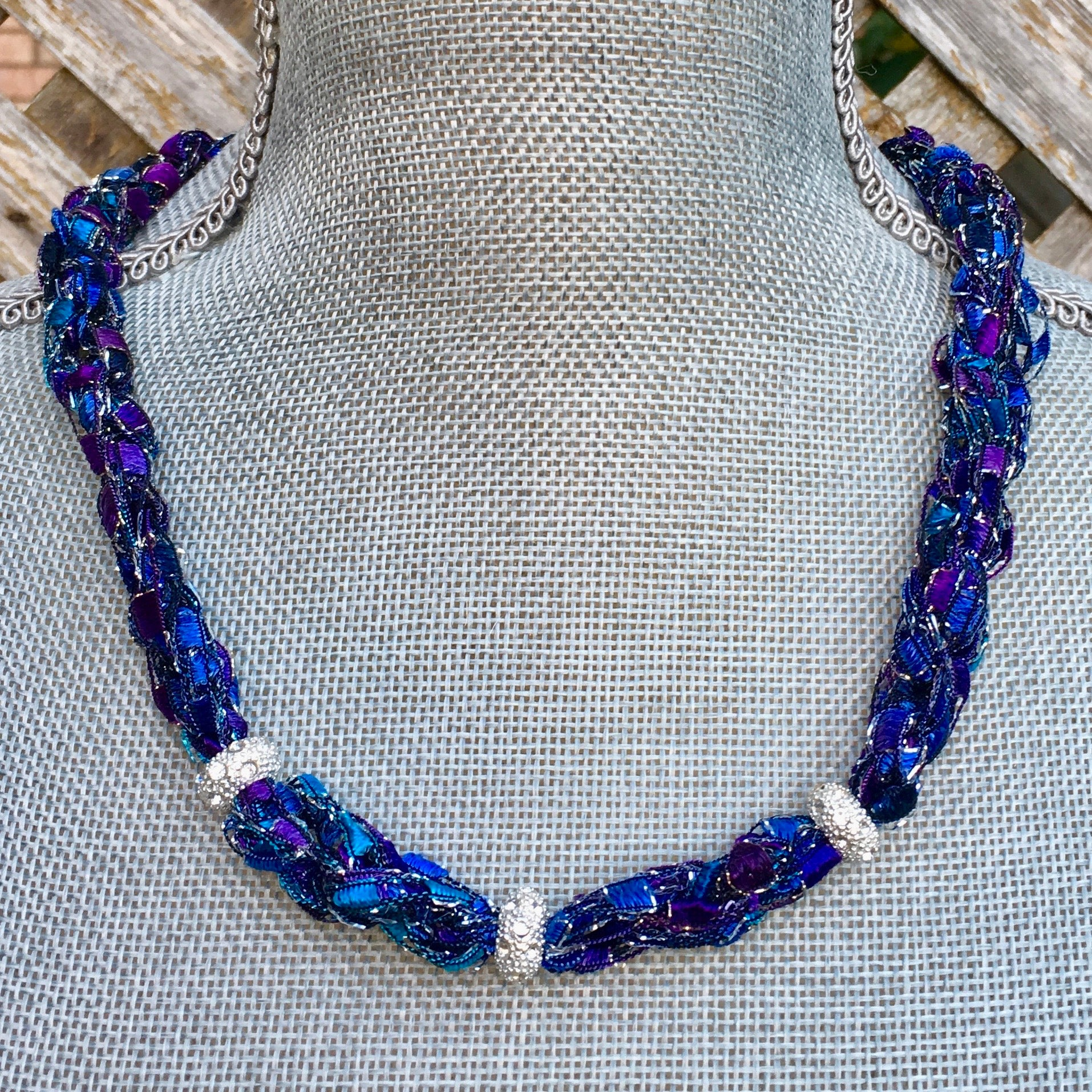 statement necklace purple blue black