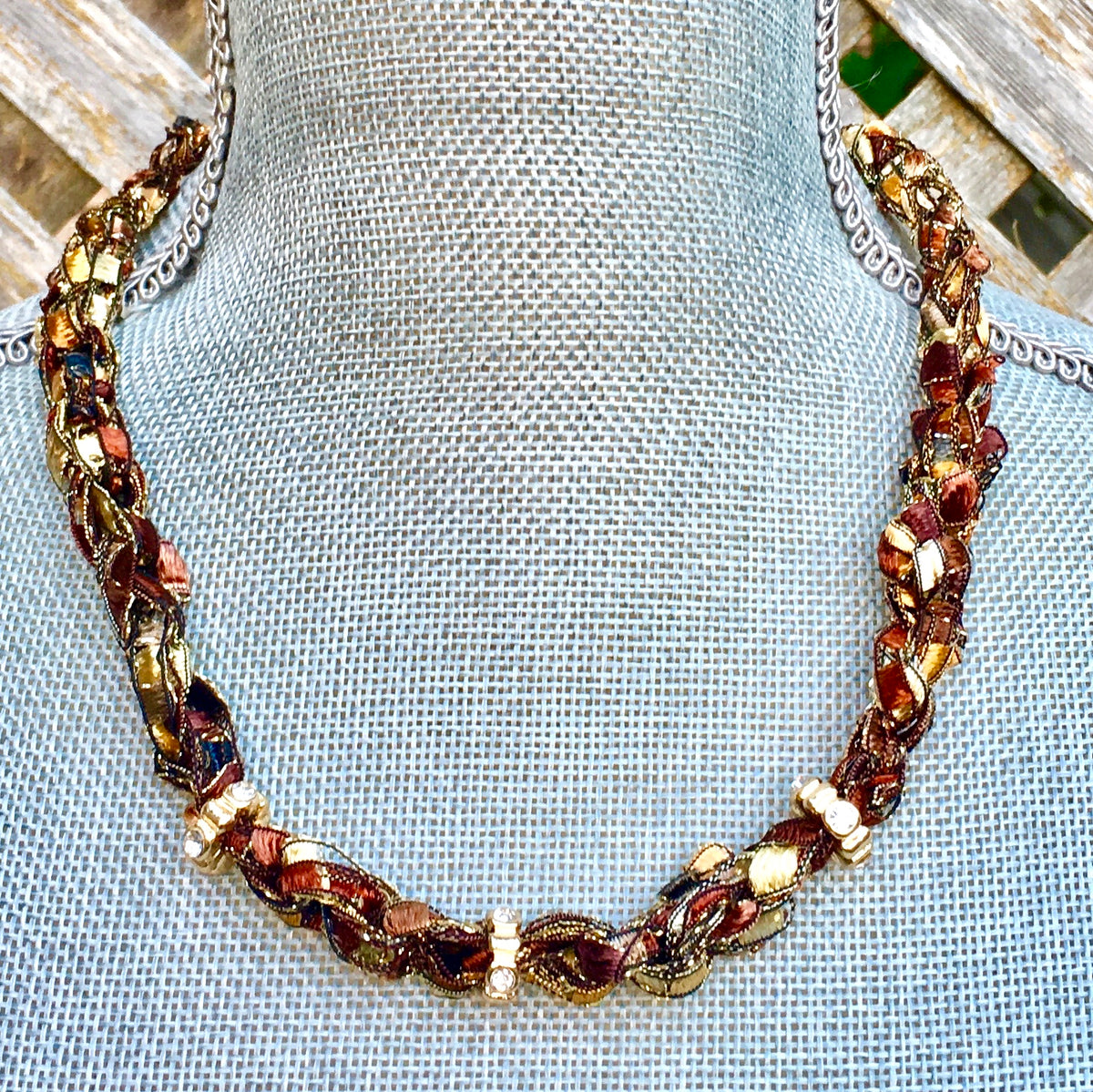 Gold Copper Statement Necklace Choker
