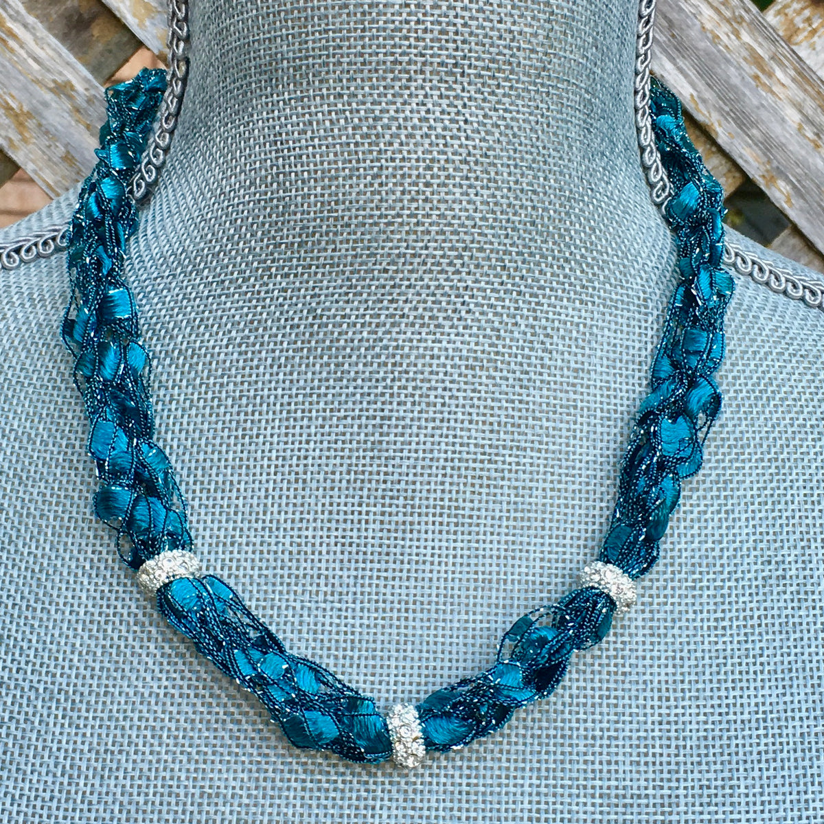 turquoise teal statement necklace