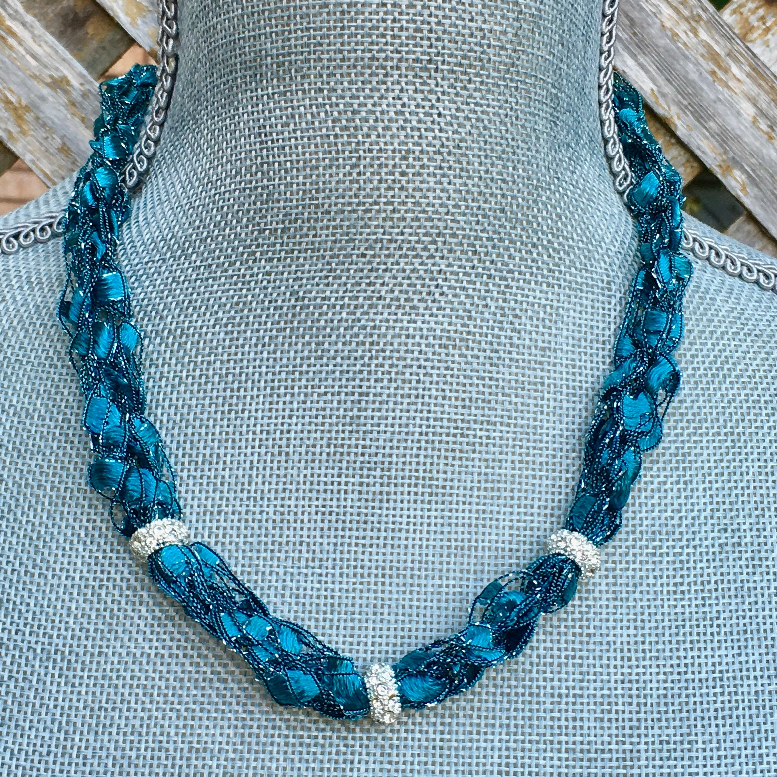 teal turquoise statement necklace