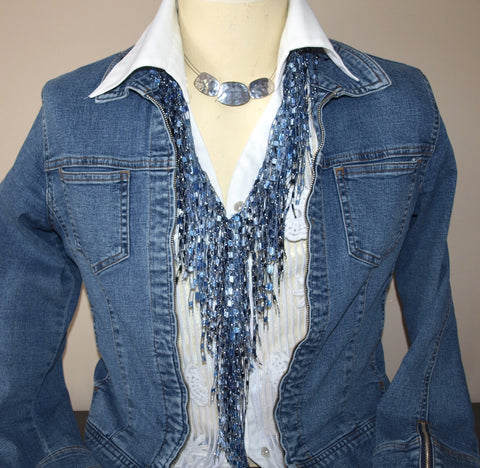 Fall Promotion - 15% off Denim GemLace - Star Sapphire GemLace by ScarfLady