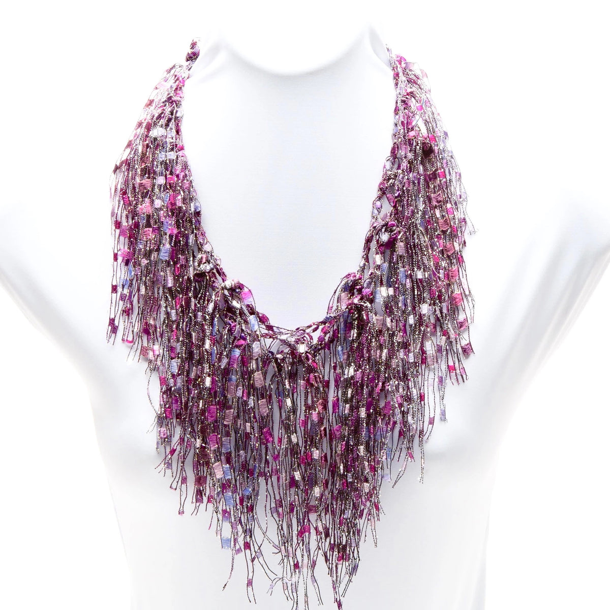 Hot Pink/Fuchsia and White Infinity Scarf - Pink Ruby GemLace Scarf