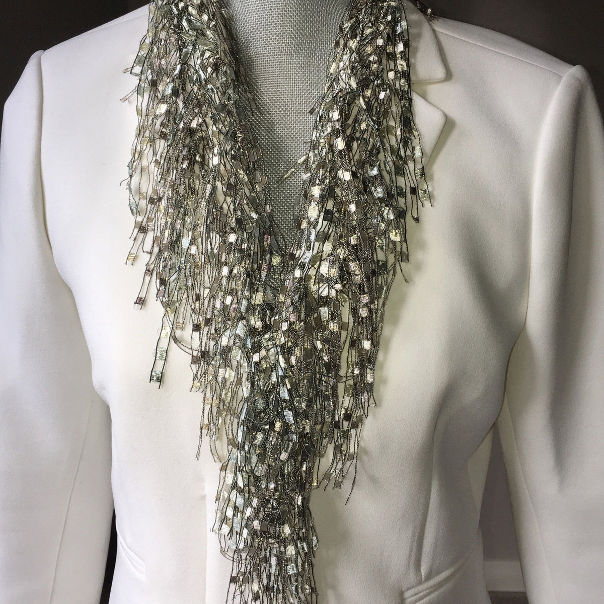Off-White Neutral Beaded Necklace Scarf - Pearl GemLace Scarf