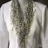 Pearl GemLace Scarf - Pearl Necklace Scarf - Winter White Scarf Christmas Gift for Wife - Off-White