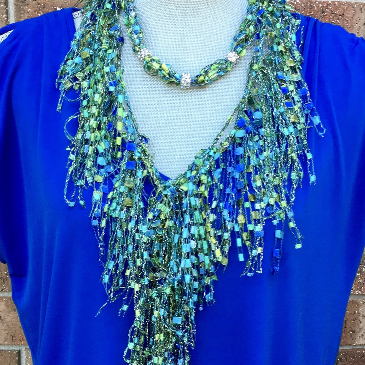 Blue Green Lightweight Infinity Scarf